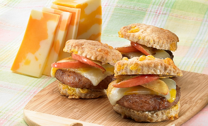 Biscuits with Sausage, Apples and Cheddar