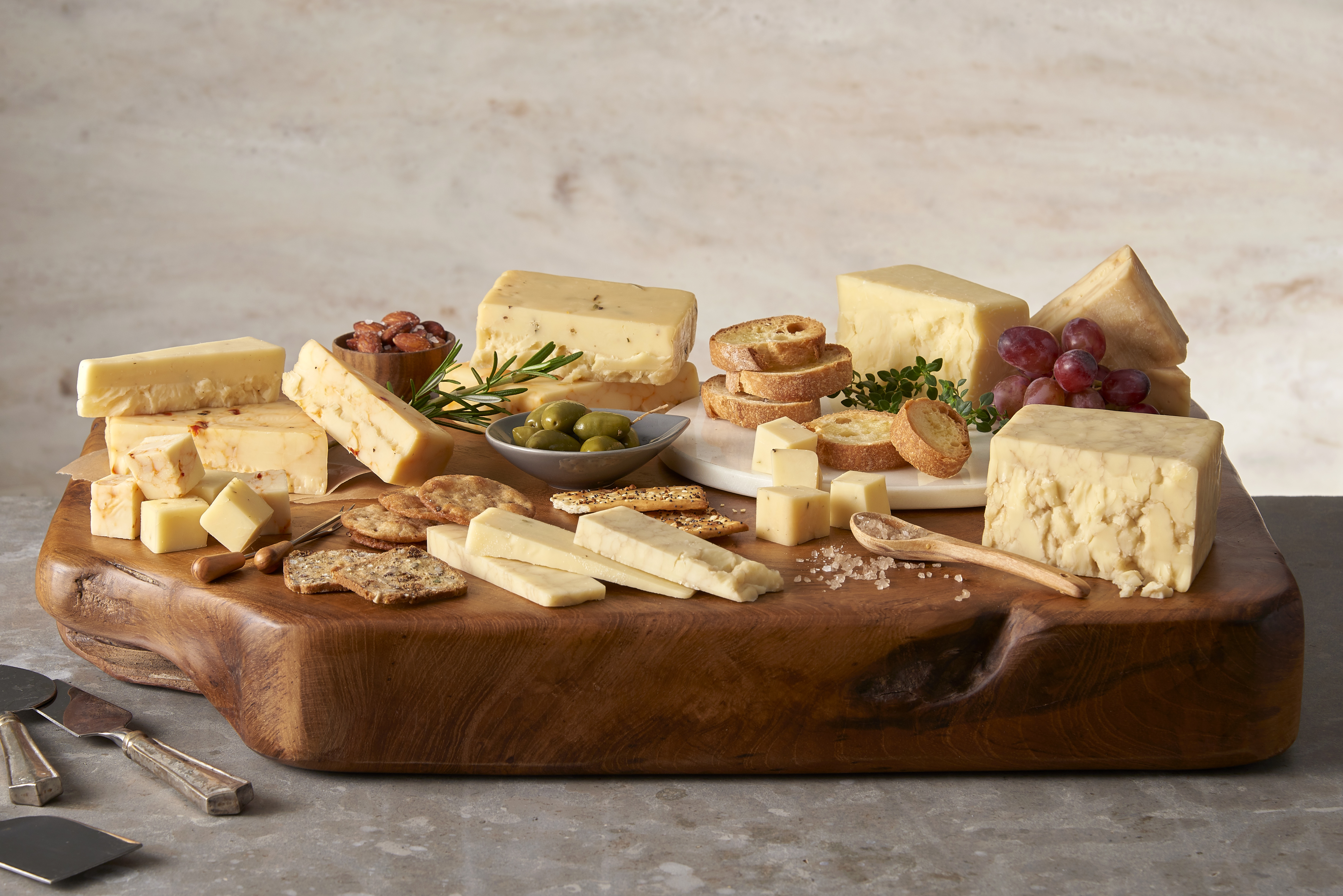 Cheese on a wooden platter
