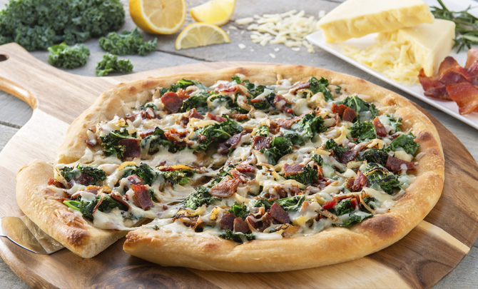 Bacon, Kale and Caramelized Onion Pizza