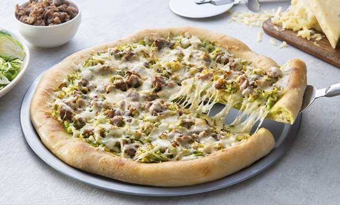 Sausage, Brussel Sprout and Truffle Pizza